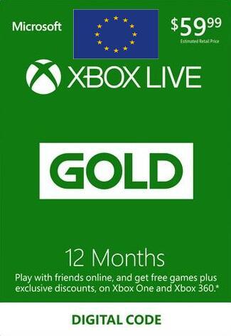 XBOX Live Tarjeta de membresía Gold de 12 meses EUROPA