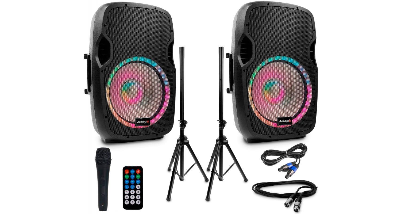 Audibax Party 215 Led Set 2 Altavoces 15 + Soportes + Cables + Micrófono