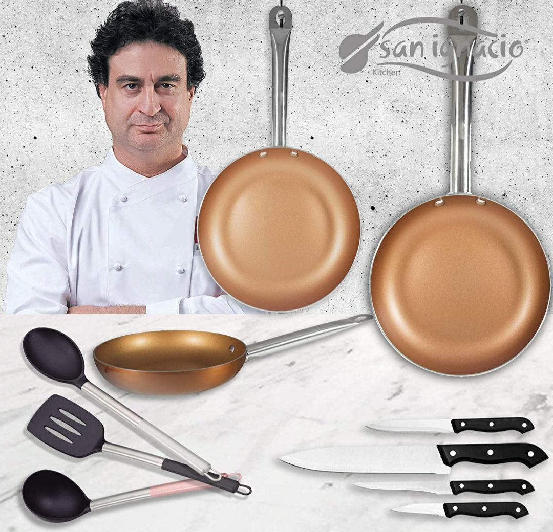 San Ignacio Copper Plus Set 3 sartenes + 4 Cuchillos + 3 Utensilios