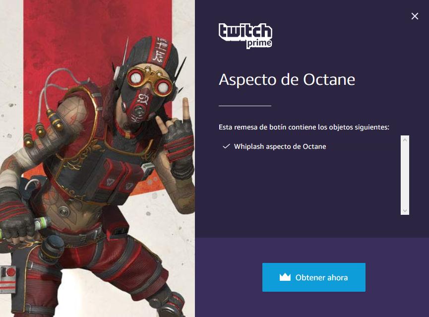Aspecto de Octane totalmente gratuito con Twitch Prime