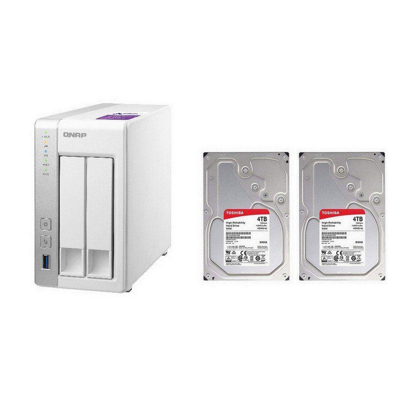 Qnap TS-231P NAS + 2 x Toshiba N300 NAS 4TB