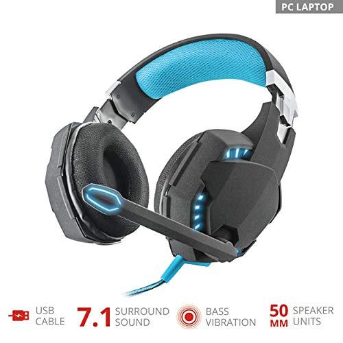 Trust GXT 363 - Auriculares Gaming USB con vibración y Sonido Surround 7.1, Color Negro
