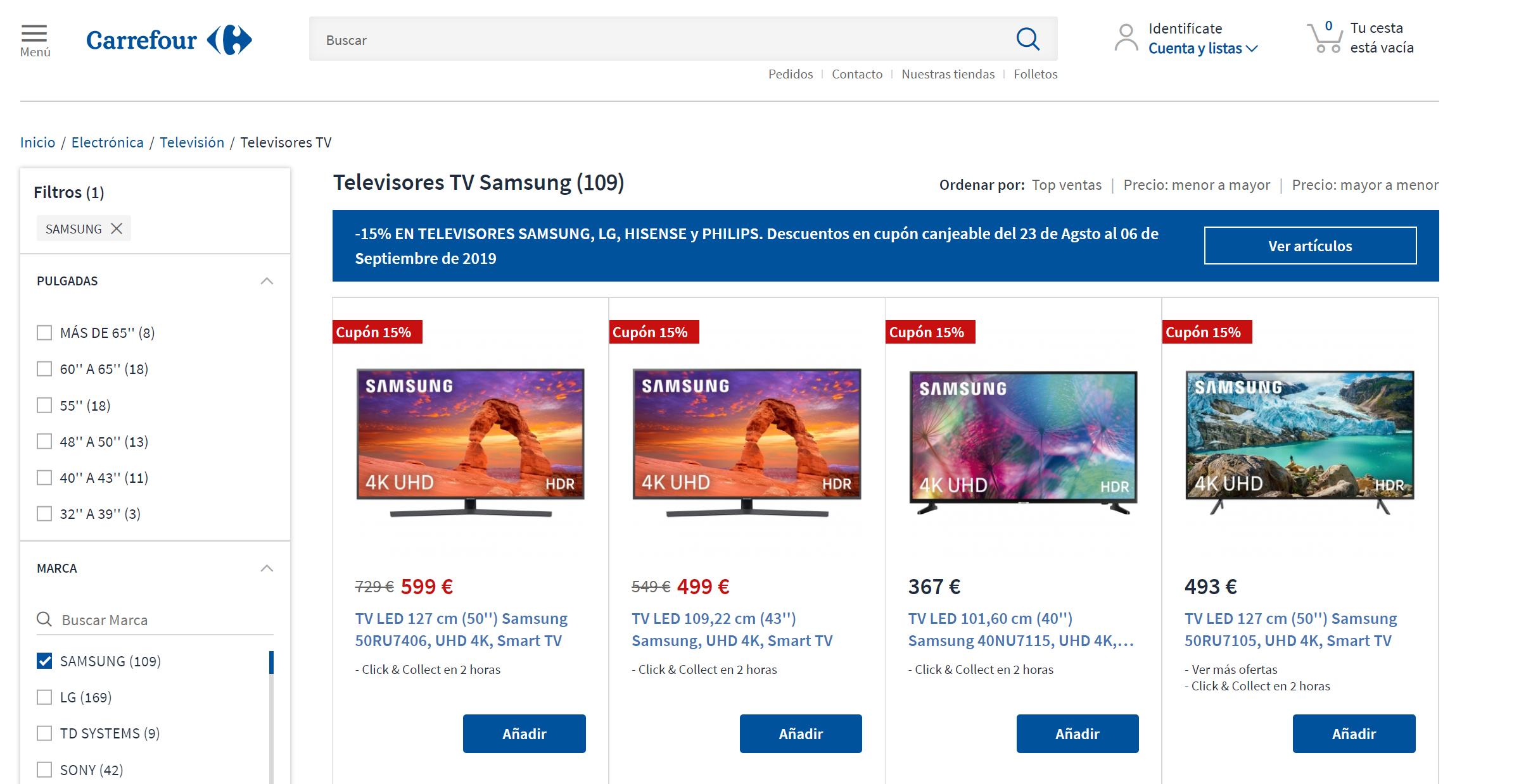 Carrefour: 15% descuento en televisores Samsung, LG, Hisense y Philips (Cupón canjeable)