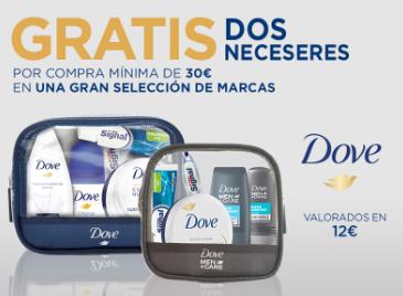 Gratis dos neceseres Dove por compras superiores a 30€