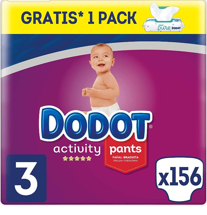 Pack de 156 pañales Dodot Activity Pants (tallas 3, 4 o 5) + 1 paquete de toallitas Aqua Pure