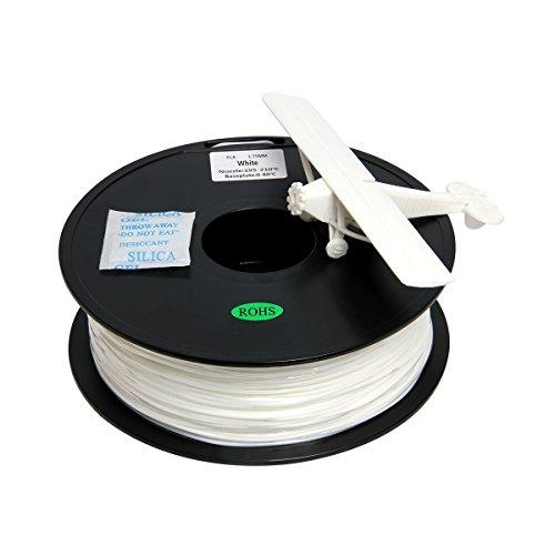 Filamento PLA 1.75mm para impresión 3D, 1kg Spool, Blanco
