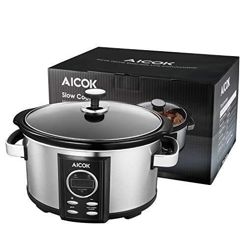 Olla de Cocción Lenta, Aicok 6.5l Slow Cooker. Plata, 315W