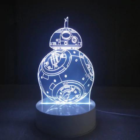 Lámpara LED 3D STAR WARS (BB-8) luz de noche Multicolor RGB