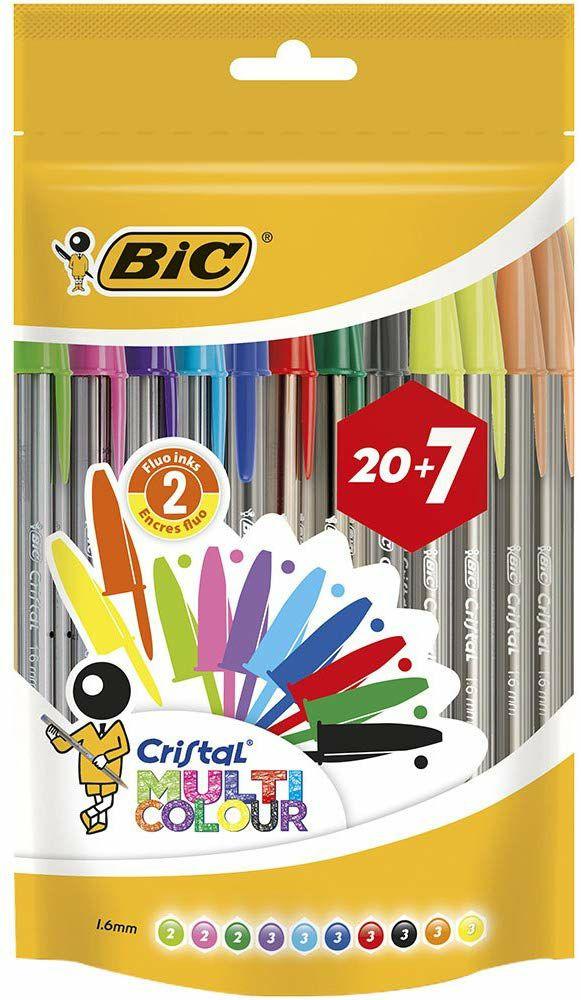 27 Bolis Bic de colores surtidos en stock