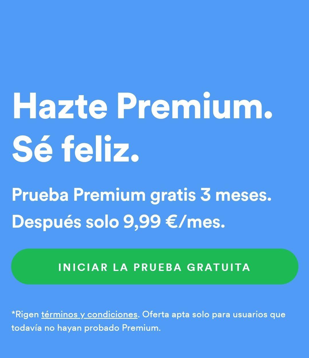 3 meses de Spotify Premium para nuevas cuentas