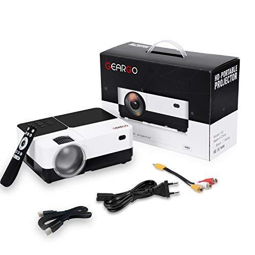 GEARGO Proyector Portátil Video Proyector 1080P Full HD