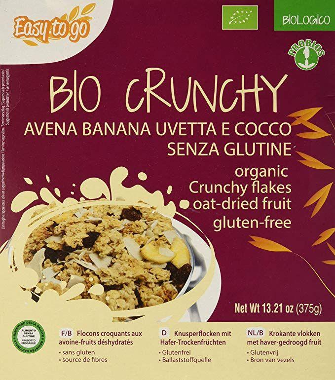 8 x 375g Probios BIO Crunchy ecológico con avena, plátano, pasas y coco
