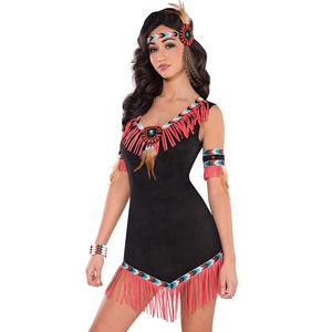 Disfraz de india (negro y coral)