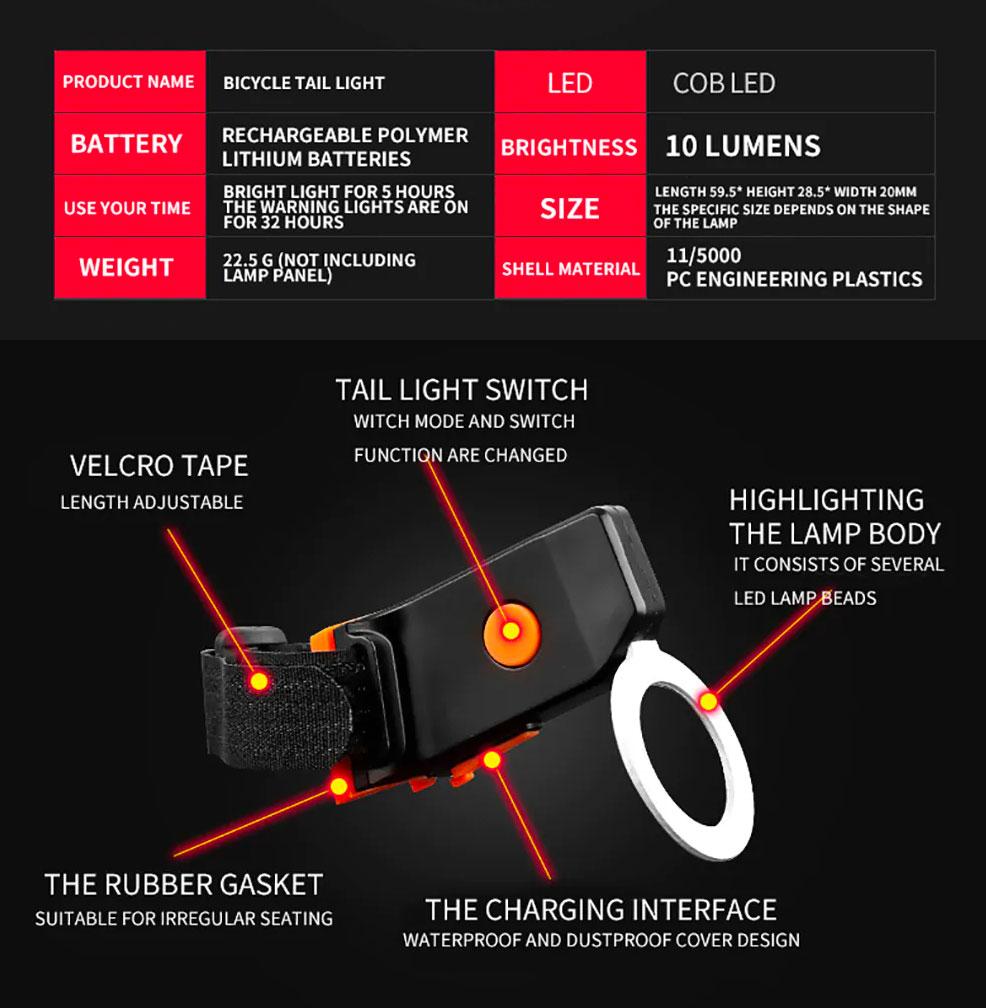 Señalizador trasero para bicicletas en tres diseños con 5 modos de iluminación.