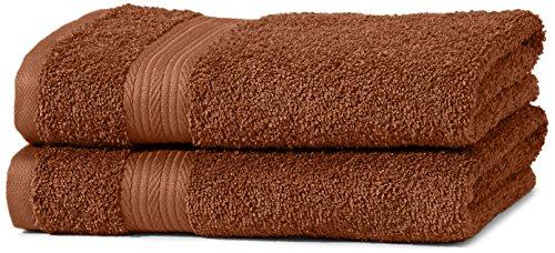 Juego de toallas (colores resistentes, 2 toallas de manos), color marrón. Producto Plus.