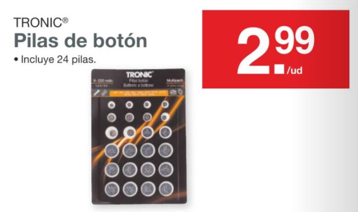 Pack de 24 pilas de botón variadas en Lidl