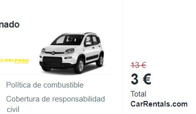 Septiembre 2 semanas de alquiler de coche desde 3€