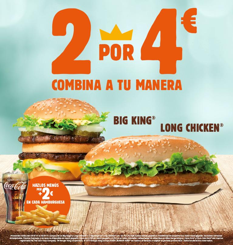 2 hamburguesas por 4€ en burger King