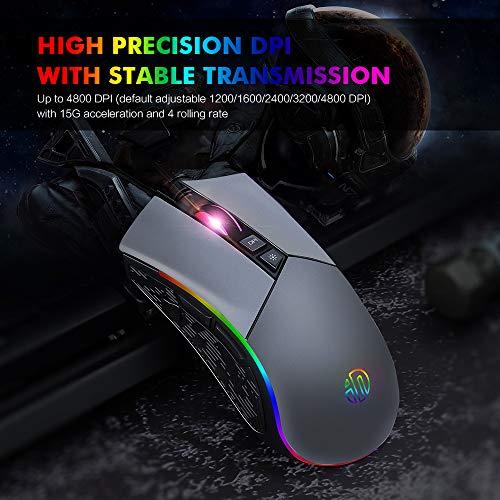 Ratón Gamer ergonómico USB RGB con de 8 botones programables