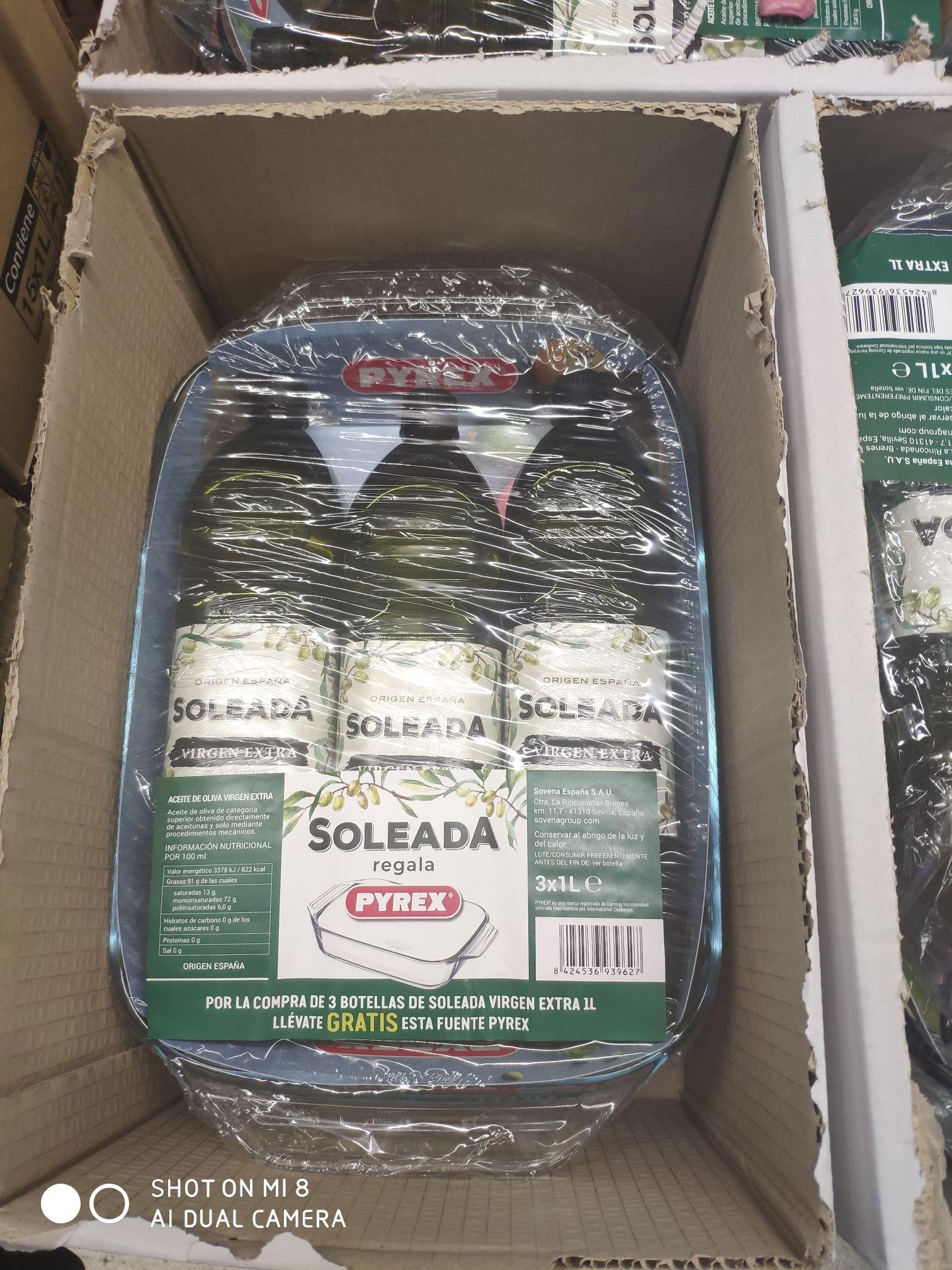 Fuente Pyrex  + 3 litros AOVE Soleada (tienda física - Carrefour Aluche)