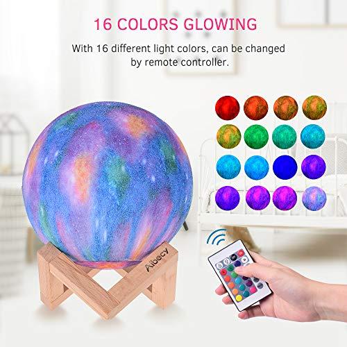 Lámpara led con forma de luna táctil con control remoto (8cm/16 colores, 4 efectos de luz, 300 mAh)