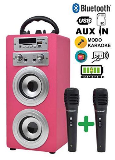 Altavoz Bluetooth Dynasonic + 2 micrófonos.