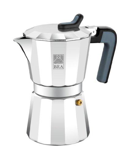 BRA Cafetera, aluminio color plata, 3 Tazas.