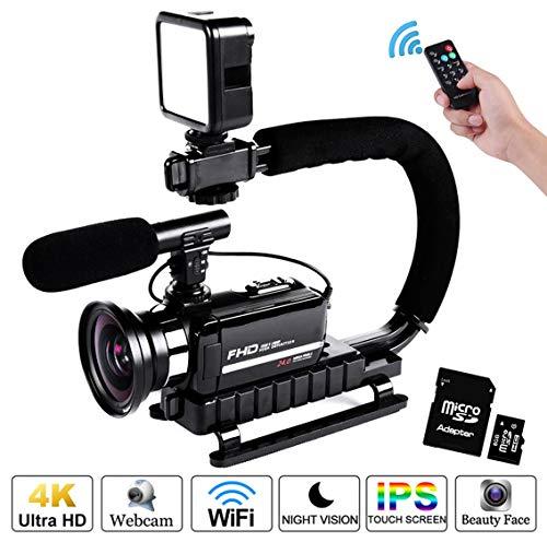 Cámara de vídeo 1080p de 24 mpx con microfono y estabilizador