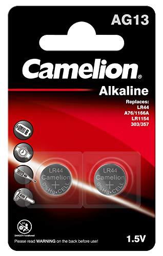 2 pilas de botón AG13 Camelion libres de mercurio