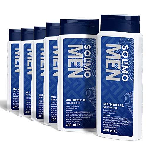 Solimo- 6 x Gel de ducha para hombre con aceite de almendra