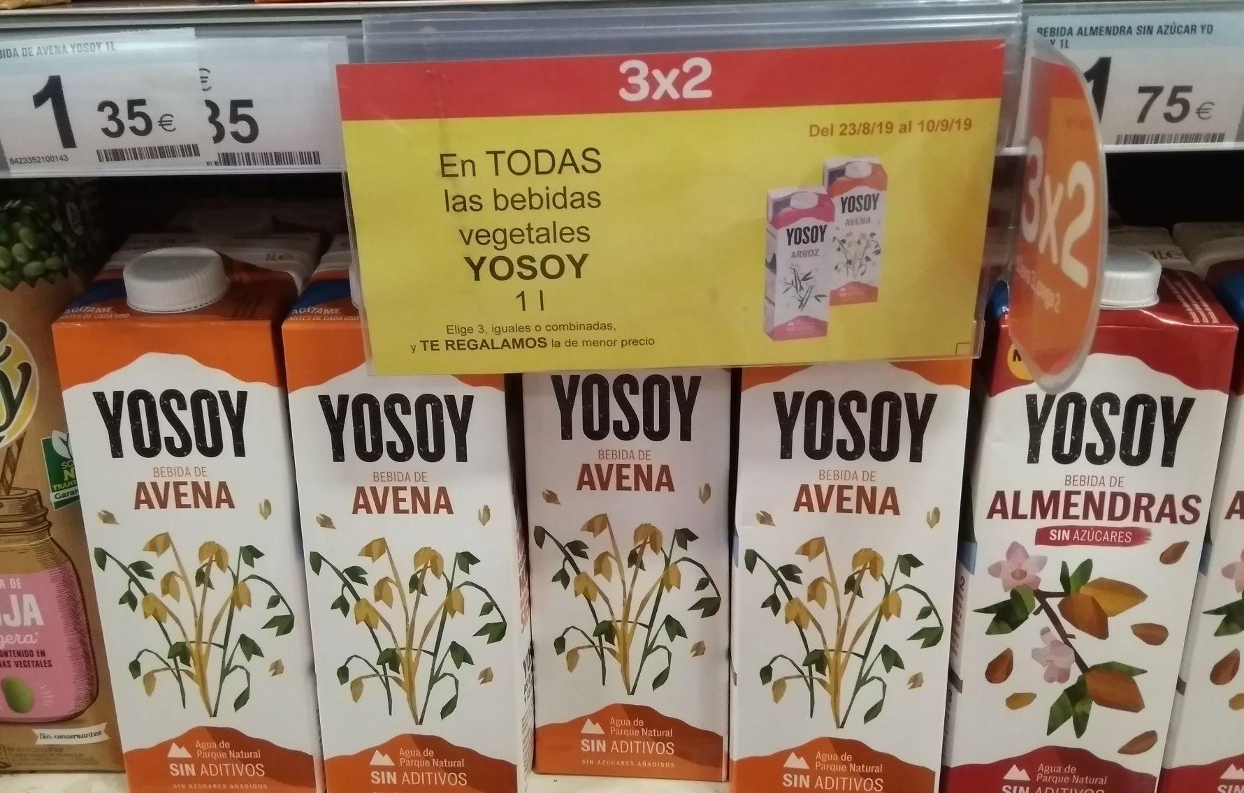 3x2 en bebidas vegetales YOSOY. Carrefour