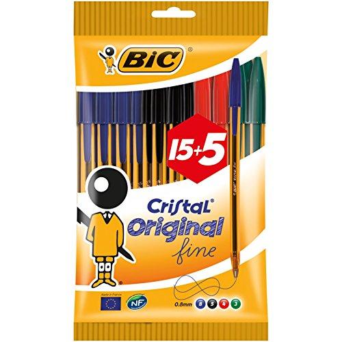 BIC Cristal Punta Fina 0,8mm 15+5 bolígrafos - PRODUCTO PLUS