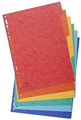 6 separadores de cartulina lustrada DIN A4, colores vivos