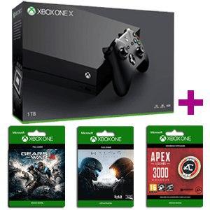 Xbox One X de 1TB + mando + 2 juegos + 30€ Apex Coins 299€