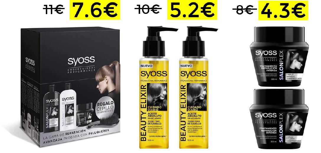 Preciazos en packs cuidado capilar Syoss