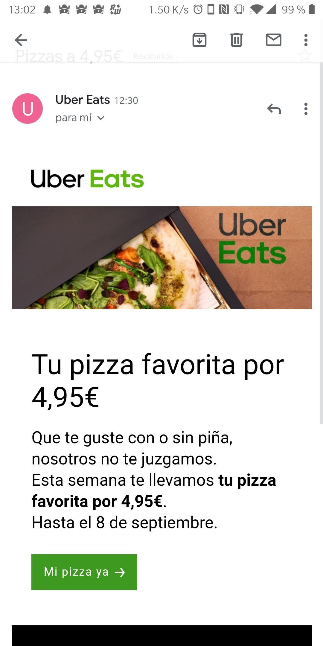 Productos seleccionados por 4'95 en Uber eats