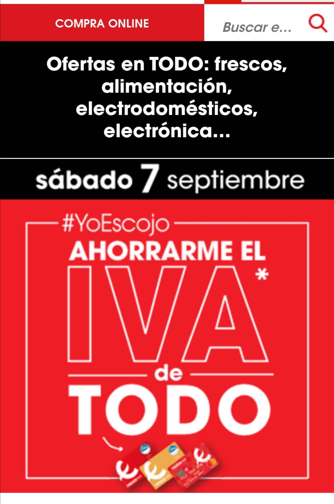 Devolución IVA en todo en supermercados eroski el sábado 7 de septiembre
