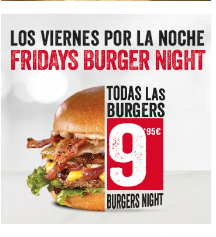 9,95 todas las hamburguesas los viernes
