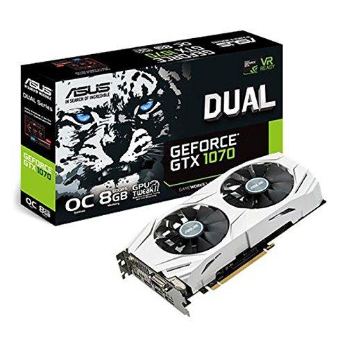CHOLLAZO - ASUS DUAL-GTX1070-O8G - Tarjeta gráfica (Dual, NVIDIA GeForce GTX 1070, 8 GB, GDDR5, HDMI, DVI, DP) color blanco
