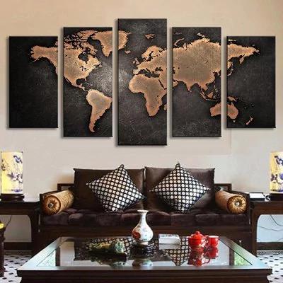 5PCS mundo retro mapa