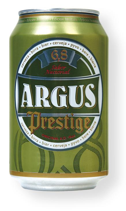 Cerveza Argus Prestige. Doble Malta. Lata 33 cl. Lidl.