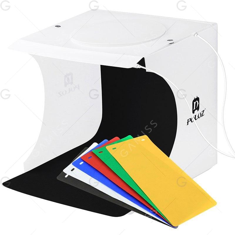 Caja de fotografia de productos con LED con tapadera.