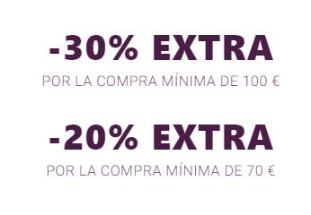 Cupón de -30% Extra (en compras de +100) -20% Extra (en compras de +70) en todo Mango Outlet