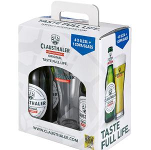4 cervezas Clausthaler + vaso de regalo