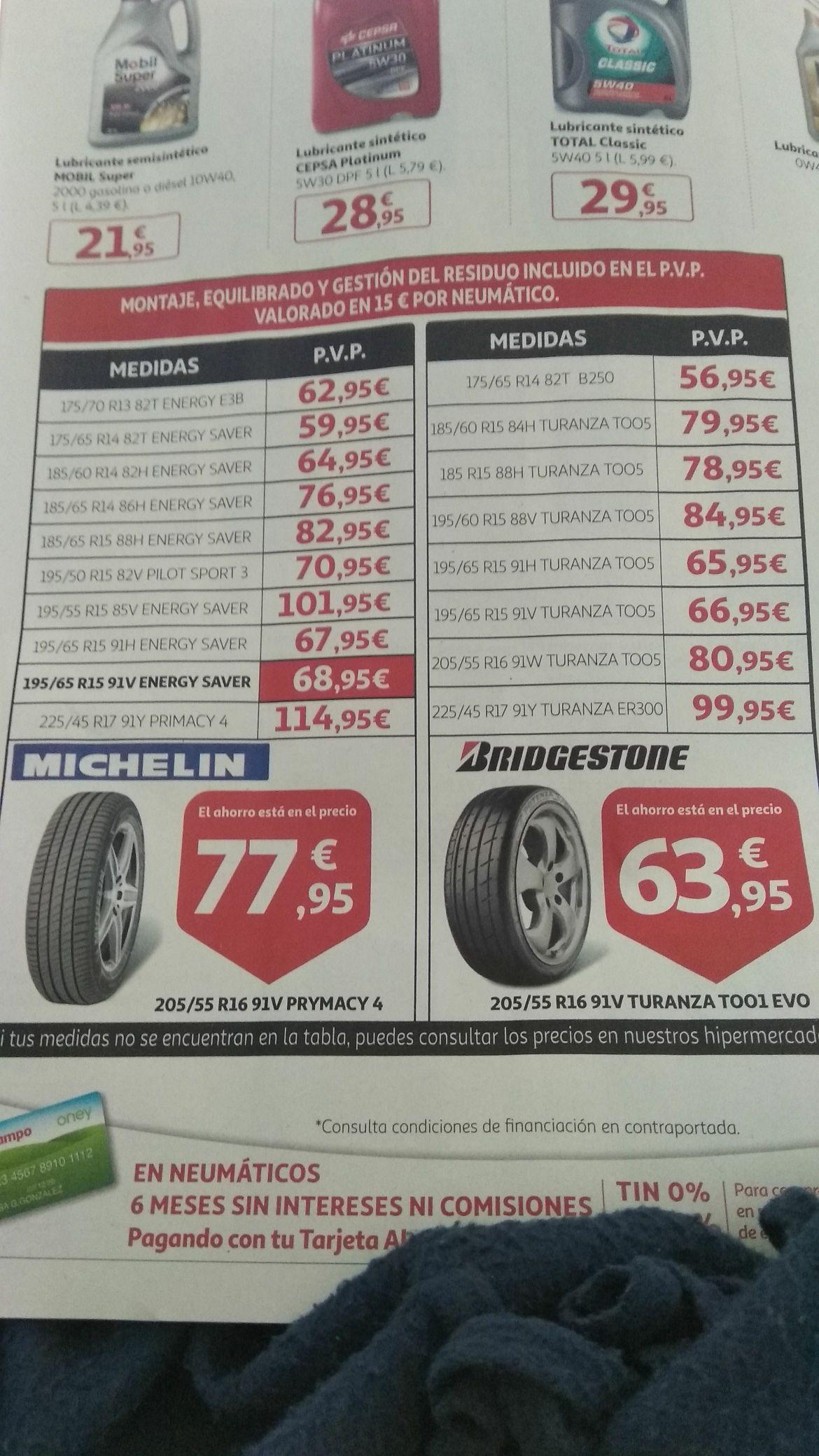 Oferta de neumáticos y montaje en Alcampo