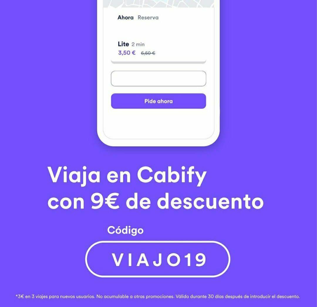 3€ de descuento en 3 viajes CABIFY   Nuevos usuarios