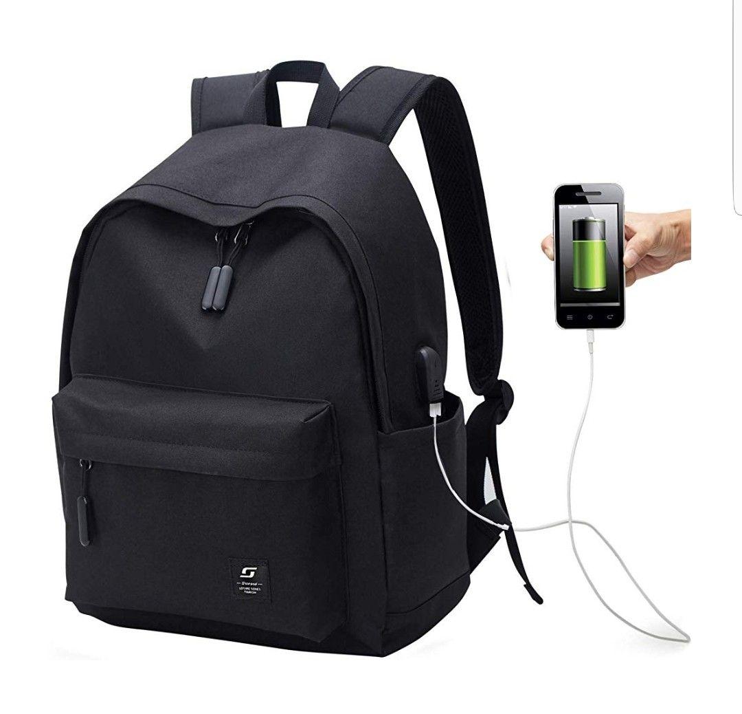 Mochila escolar que incluye puerto de carga USB.