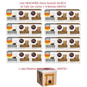 24 paquetes de cápsulas Dolce Gusto a 2,7€ c/u. + lata porta cápsulas