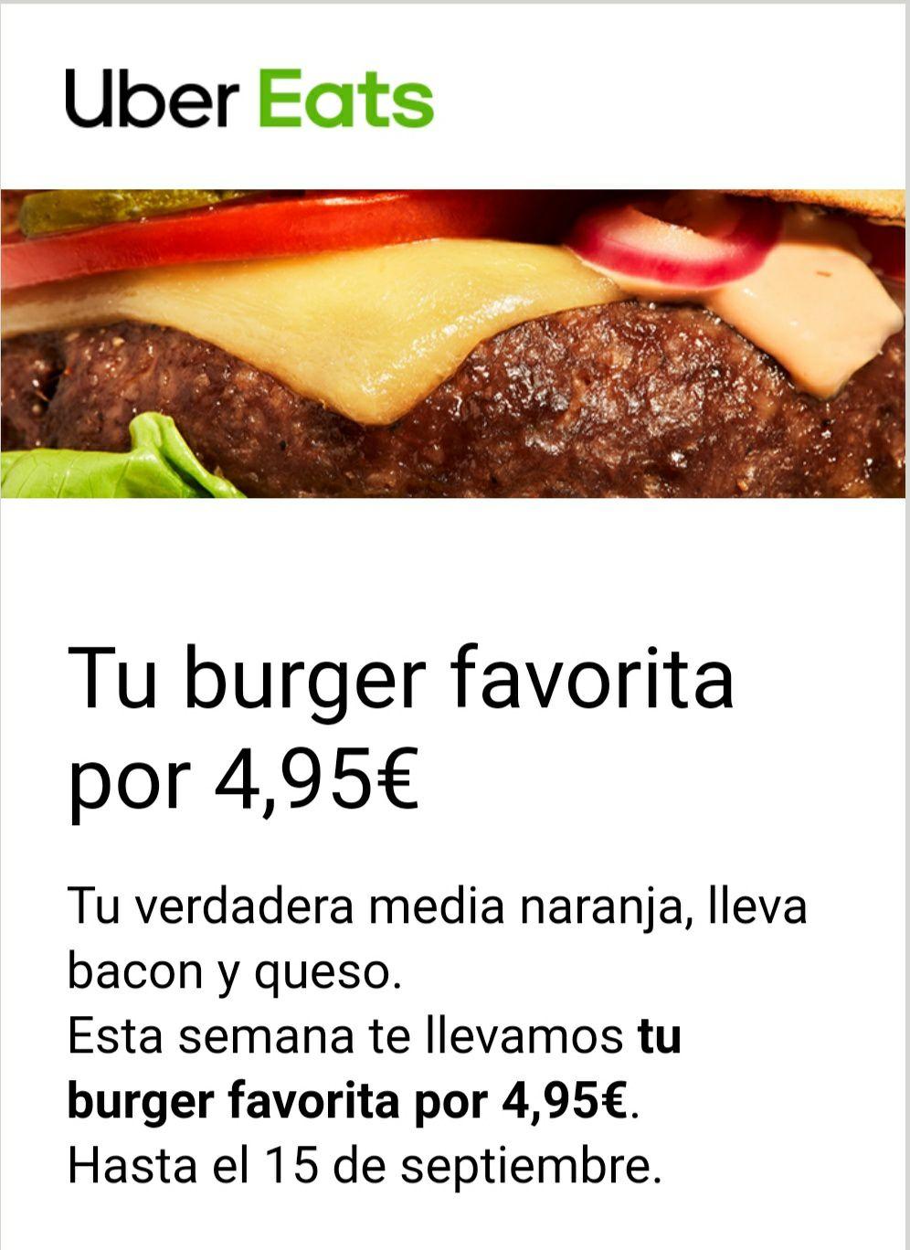 Hamburguesas a 4.95 Uber Eats