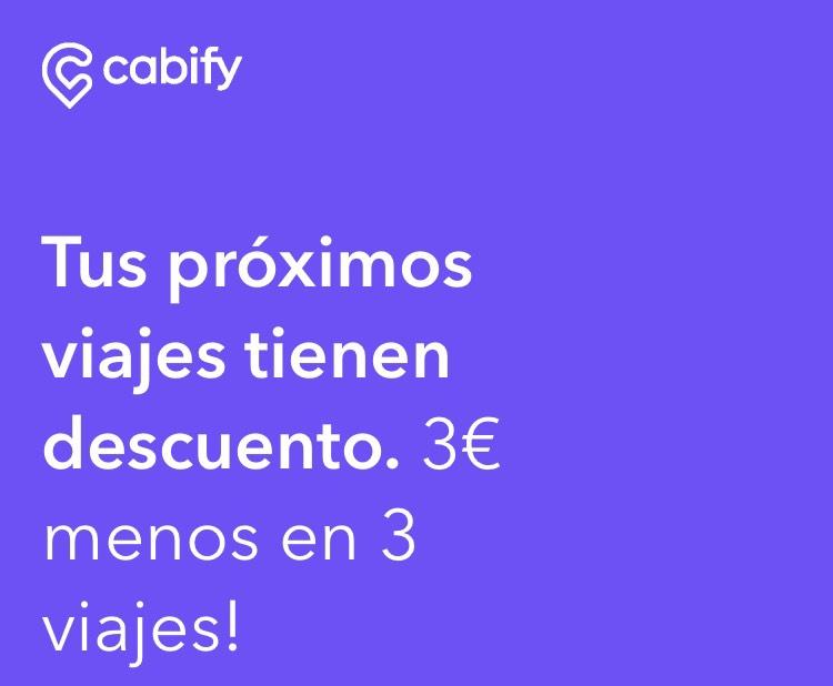 3€ de descuento en cabify en 3 viajes